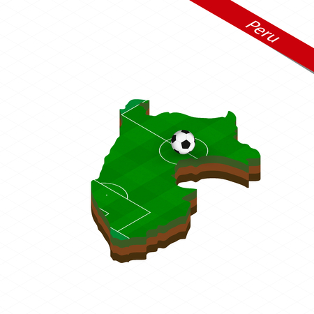 Isometric map of Peru with soccer field. Football ball in center of football pitch. Vector soccer illustration. 向量圖像