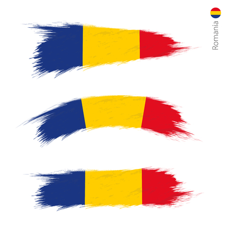 Set of 3 grunge textured flag of Romania, three versions of national country flag in brush strokes painted style. Vector flags.