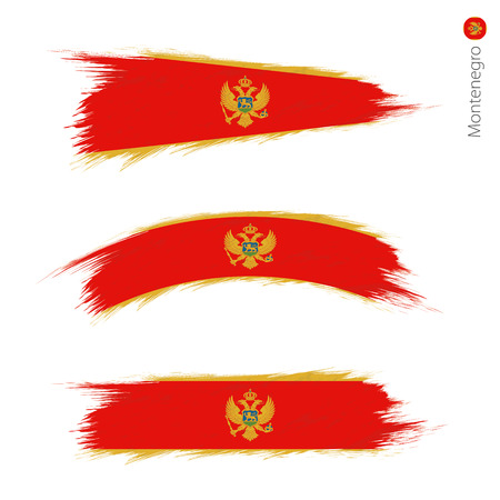 Set of 3 grunge textured flag of Montenegro, three versions of national country flag in brush strokes painted style. Vector flags. Illustration