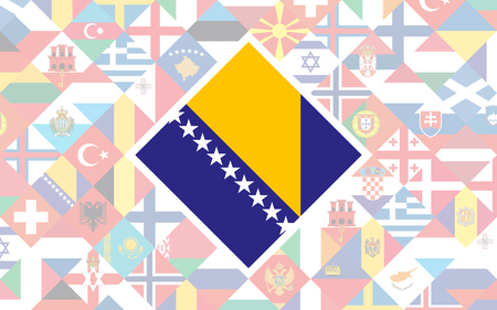 Flag background of European countries with big flag of Bosnia and Herzegovina in the centre for Football competition Stock Illustratie