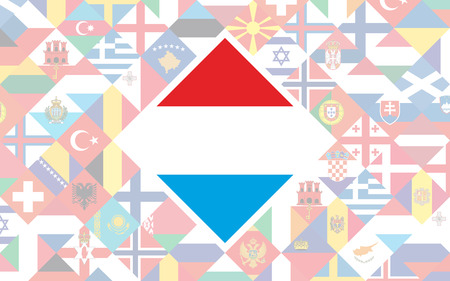 Flag background of European countries with big flag of Luxembourg in the centre for Football competition Illustration