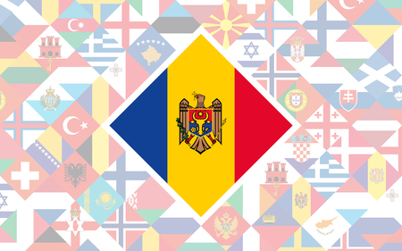 Flag background of European countries with big flag of Moldova in the centre for Football competition
