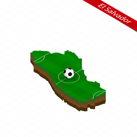 Isometric map of El Salvador with soccer field. Football ball in center of football pitch. Vector soccer illustration.