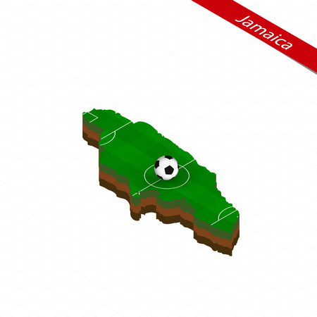 Isometric map of Jamaica with soccer field. Football ball in center of football pitch. Vector soccer illustration. Ilustração