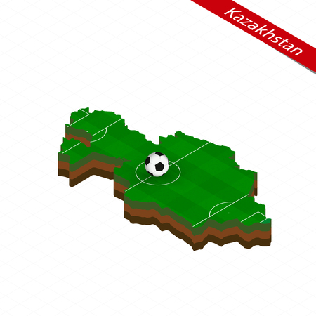 Isometric map of Kazakhstan with soccer field. Football ball in center of football pitch. Vector soccer illustration.  イラスト・ベクター素材