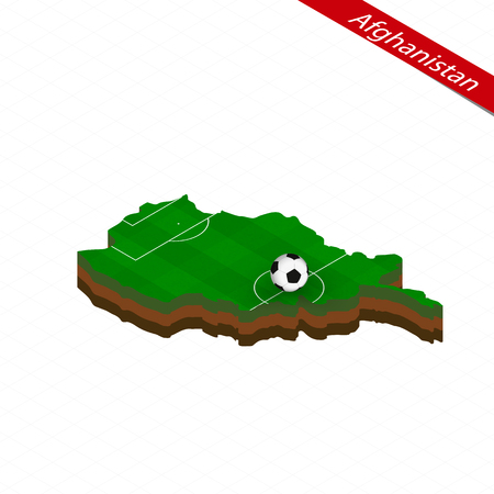 Isometric map of Afghanistan with soccer field. Football ball in center of football pitch. Vector soccer illustration.
