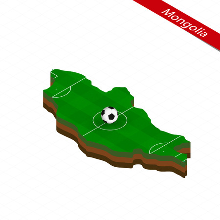 Isometric map of Mongolia with soccer field. Football ball in center of football pitch. Vector soccer illustration.