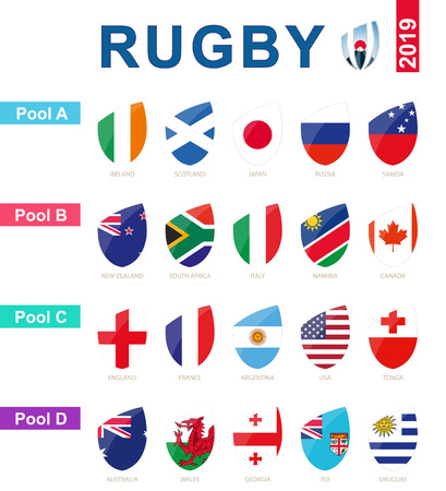 Rugby 2019, all pools and flag of rugby tournament. 矢量图像