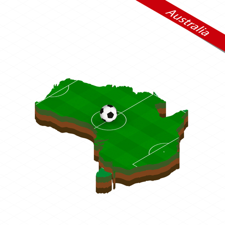 Isometric map of Australia with soccer field. Football ball in center of football pitch. Vector soccer illustration.  イラスト・ベクター素材