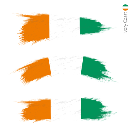 Set of 3 grunge textured flag of Ivory Coast, three versions of national country flag in brush strokes painted style. Vector flags. Illustration