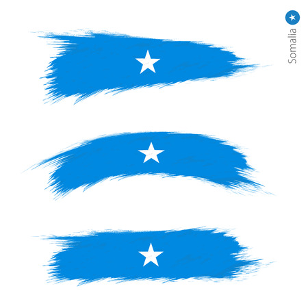 Set of 3 grunge textured flag of Somalia, three versions of national country flag in brush strokes painted style. Vector flags.