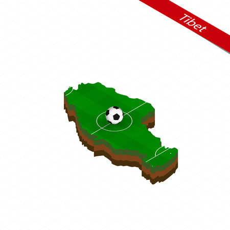 Isometric map of Tibet with soccer field. Football ball in center of football pitch. Vector soccer illustration.