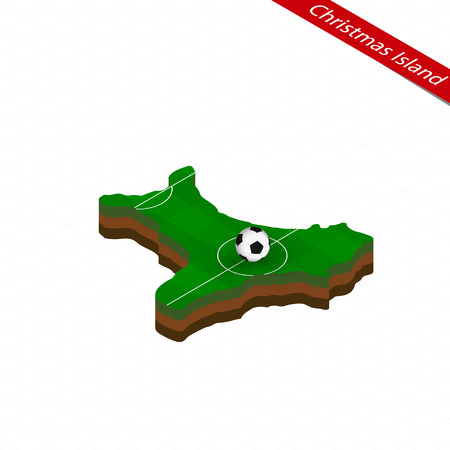 Isometric map of Christmas Island with soccer field. Football ball in center of football pitch. Vector soccer illustration.