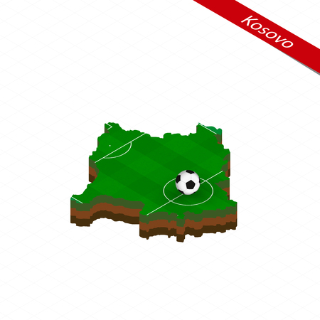 Isometric map of Kosovo with soccer field. Football ball in center of football pitch. Vector soccer illustration.