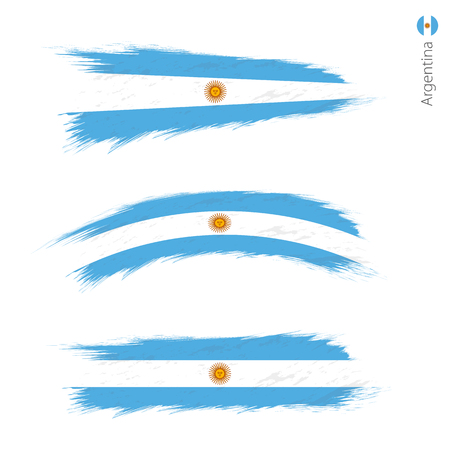 Set of 3 grunge textured flag of Argentina, three versions of national country flag in brush strokes painted style. Vector flags.