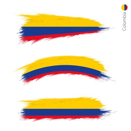 Set of 3 grunge textured flag of Colombia, three versions of national country flag in brush strokes painted style. Vector flags. Ilustrace