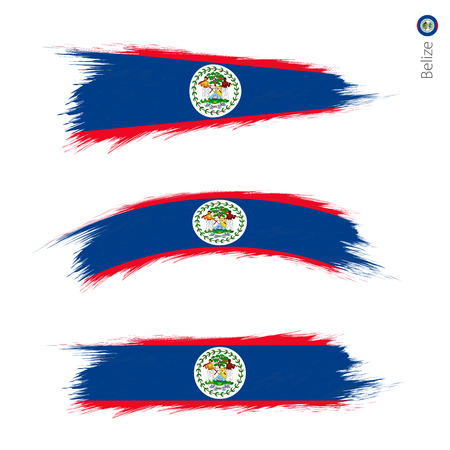 Set of 3 grunge textured flag of Belize, three versions of national country flag in brush strokes painted style. Vector flags.
