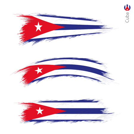 Set of 3 grunge textured flag of Cuba, three versions of national country flag in brush strokes painted style. Vector flags.