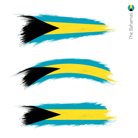 Set of 3 grunge textured flag of The Bahamas, three versions of national country flag in brush strokes painted style. Vector flags. Illustration