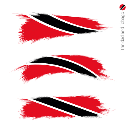 Set of 3 grunge textured flag of Trinidad and Tobago, three versions of national country flag in brush strokes painted style. Vector flags.