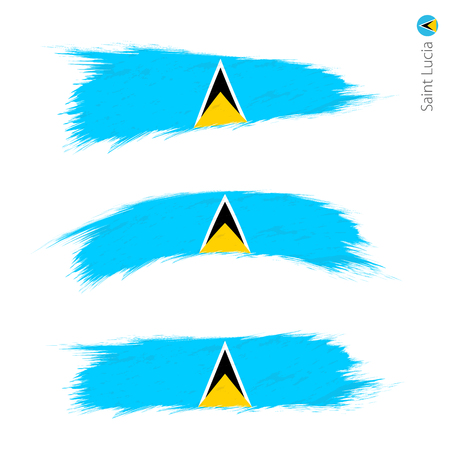 Set of 3 grunge textured flag of Saint Lucia, three versions of national country flag in brush strokes painted style. Vector flags.  イラスト・ベクター素材