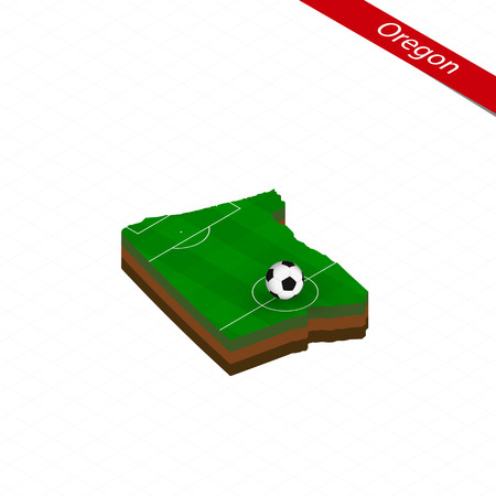 Isometric map of US state Oregon with soccer field. Football ball in center of football pitch. Vector soccer illustration.