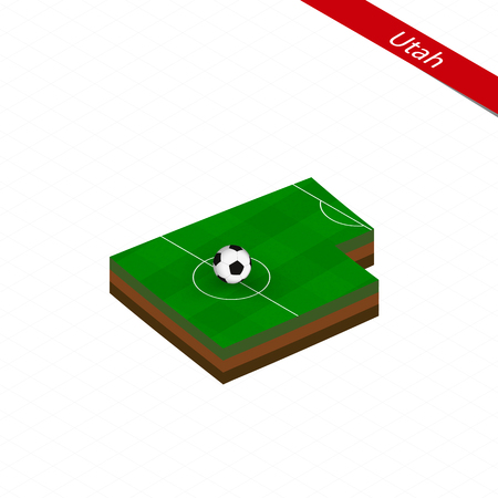 Isometric map of US state Utah with soccer field. Football ball in center of football pitch. Vector soccer illustration.