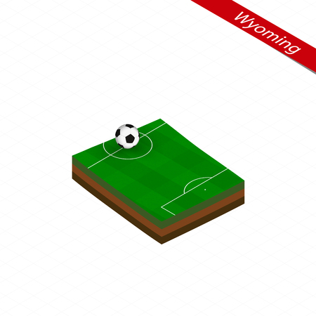 Isometric map of US state Wyoming with soccer field. Football ball in center of football pitch. Vector soccer illustration.