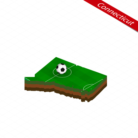 Isometric map of US state Connecticut with soccer field. Football ball in center of football pitch. Vector soccer illustration.
