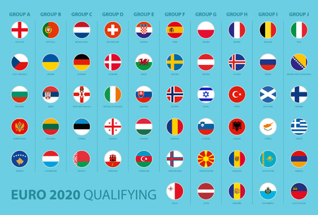 Flags of football tournament qualifying sorted by group Illustration