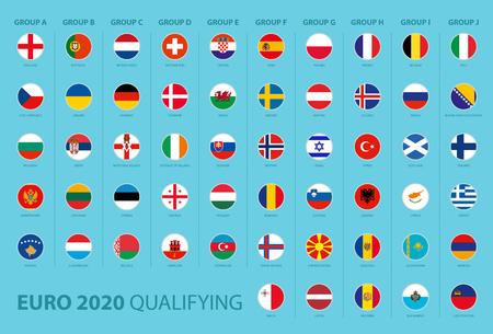 Vlaggen van kwalificatie voor voetbaltoernooien gesorteerd op groep
