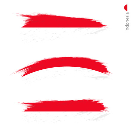 Set of 3 grunge textured flag of Indonesia, three versions of national country flag in brush strokes painted style. Vector flags. Ilustração