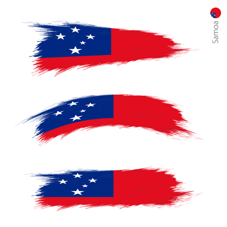 Set of 3 grunge textured flag of Samoa, three versions of national country flag in brush strokes painted style. Vector flags. Vektorové ilustrace