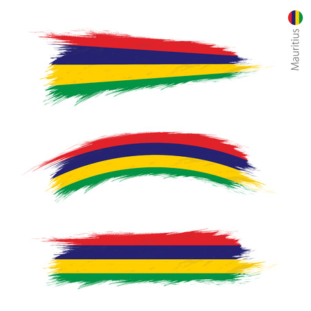 Set of 3 grunge textured flag of Mauritius, three versions of national country flag in brush strokes painted style. Vector flags. Vecteurs