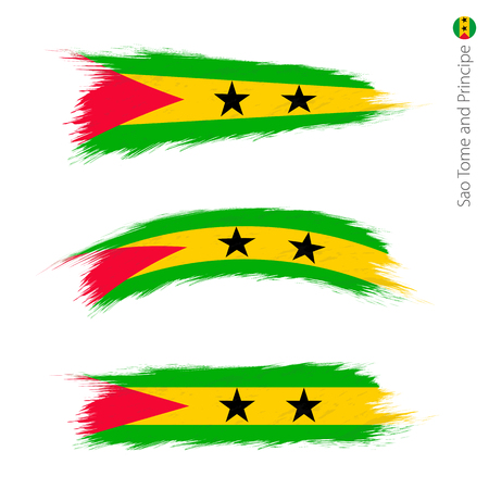 Set of 3 grunge textured flag of Sao Tome and Principe, three versions of national country flag in brush strokes painted style. Vector flags.