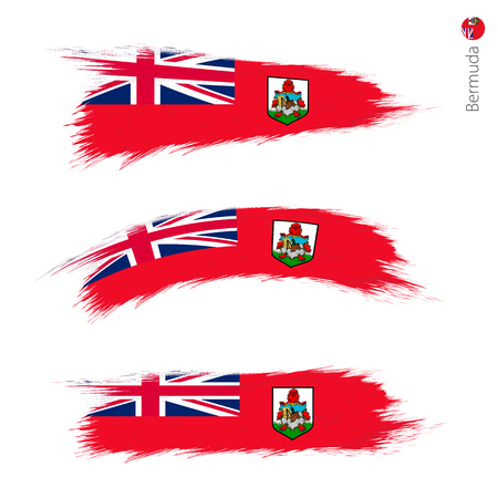 Set of 3 grunge textured flag of Bermuda, three versions of national country flag in brush strokes painted style. Vector flags.