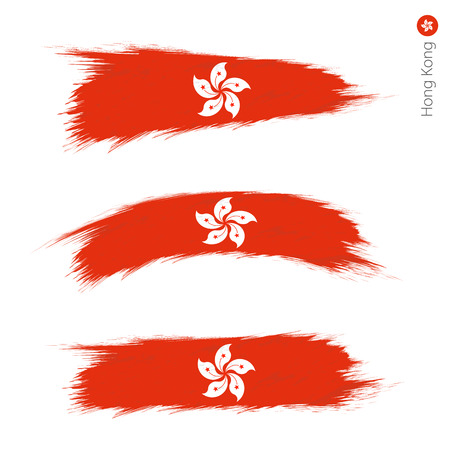 Set of 3 grunge textured flag of Hong Kong, three versions of national country flag in brush strokes painted style. Vector flags.