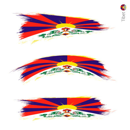 Set of 3 grunge textured flag of Tibet, three versions of national country flag in brush strokes painted style. Vector flags. 写真素材 - 114823631