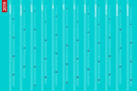 2019 vertical calendar with selected Sundays, English language.