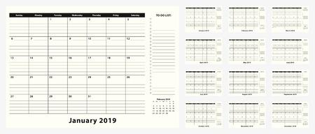 Calendario mensual de escritorio de negocios para el año 2019, 12 meses. Planificador de calendario con lista de tareas pendientes y lugar para notas en diseño en blanco y negro.