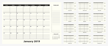 Monthly Business Desk Pad Calendar for year 2019, 12 month. Calendar planner with to-do list and place for notes in black and white design.