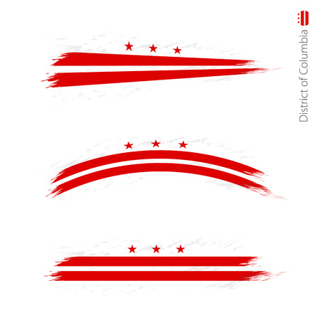 Set of 3 grunge textured flag District of Columbia, three versions of flag in brush strokes painted style. Vector flags. Illustration