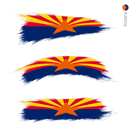 Set of 3 grunge textured flag of US State Arizona, three versions of state flag in brush strokes painted style. Vector flags.