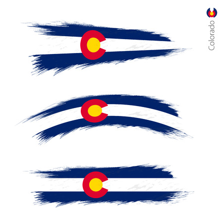 Set of 3 grunge textured flag of US State Colorado, three versions of state flag in brush strokes painted style. Vector flags. Illustration