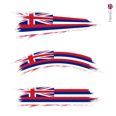 Conjunto de 3 bandera con textura grunge del estado estadounidense de Hawaii, tres versiones de la bandera del estado en pinceladas pintadas estilo. Banderas vectoriales. Ilustración de vector