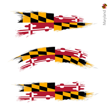 Set of 3 grunge textured flag of US State Maryland, three versions of state flag in brush strokes painted style. Vector flags.