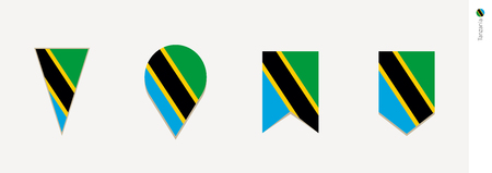 Tansania-Flagge im vertikalen Design, Vektorillustration.
