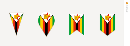 Zimbabwe flag in vertical design, vector illustration.