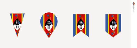 Swaziland flag in vertical design, vector illustration.