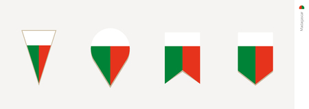 Madagascar flag in vertical design, vector illustration.